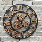 Gear Wall Clock Round Wooden 3D Roman Number Retro Rustic Large Home Decor