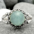 Aquamarine Cab - Brazil 925 Sterling Silver Ring Jewelry s.6.5 SDR67774