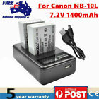 2× NB-10L Battery/ LCD Charger For Canon Powershot G3 X, SX40 SX50 SX60 HS 1100D