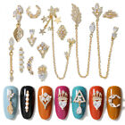 2 Pcs / Pack Hollow Gold Metal 3D Nail Rhinestones Mixed Size Bling Decoration