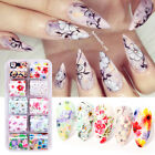 10 Rolls/Box Nail Foils Flowers Butterfly Nail Art Transfer Stickers Decals Tips