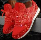 Women's Ladies Sparkly Shiny Trainers Sneakers Lace Up Casual Sport Shoes Size
