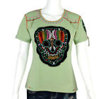 Women's Sage Green Hand-Embroidered Sugar Skull Day of Dead Slim Fit T-Shirt Top