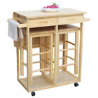 Rolling Folding Kitchen Island Wood Trolley Cart Storage Dinning Table & Stools