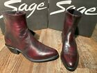 Men's Sage side-zip western boots by Abilene.  Black and Black Cherry.