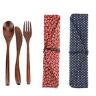 Natural Bamboo Cutlery Kits Dining Knife Fork Spoon Pieces Gift Camping Travel