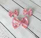 Hair bows 3 or 5 inch sequin sparkle on clip baby toddler girl 40 colors pigtail