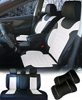 PU Leather Car 5 Seats Covers Cushion 9 Pieces Front & Rear Dodge 88255 Bk/W $89.95 USD on eBay
