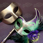 Mardi Gras Masquerade couple stick mask Dress up Costume Carnival Cosplay Party