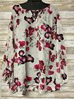 Daisy Fuentes Floral Print Long Sleeve Sheer Top Plus Size NWT