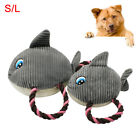 PET DOG PUPPY SHARK SHAPE PLUSH DOLL COTTON ROPE SQUEAKY CHEW PLAY TOY SMART