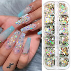 12 Grids/Box Nail Art Glitter Sequins Flakes Holographics Silver Nail Decoration