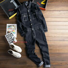 Mens Embroidery Long Sleeve Overall Denim Jumpsuit Coverall Casual Rompers lp00