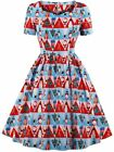 Wellwits Women's Triangle Fancy Pattern Print Tea Length 1950s Vintage Dress