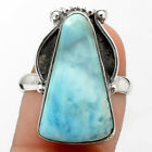 Vintage - Larimar (Dominican Republic) 925 Silver Ring Jewelry s.9 SDR76272