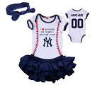 New York Yankees Girls Outfit Personalized Jersey Bodysuit Watching With Daddy