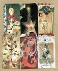 Hang Tags PRIMITIVE CRAFTY SNOWMAN TREE SOCK CHRISTMAS MIXED TAGS T84 Gift Tags