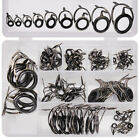 85Pc Ceramic Fishing Rod Guide Line Kit Double Feet Rings Repair Eyes 8 Sizes
