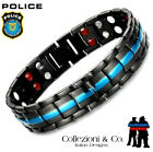 Police Lives Matter Thin Blue Line Stainless Steel Magnetic Therapy Bracelet