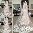 3M White Ivory Cathedral Length Lace Edge Bride Wedding Bridal Long Veil  Comb