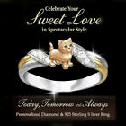 925 Silver Two Tone Gold Wedding Charming White Sapphire Cute Orange Cats Rings image