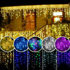 96-1500 LED Hanging Icicle Curtain Light Outdoor Fairy Xmas String Wedding Lamps