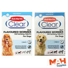 Bob Martin Clear 3in1 Wormer for Dogs Worming Tablets Round Tape Hook Whip Worms