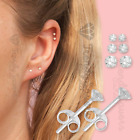 Very Attractive Small Tiny Round Cz Crystal Pure 925 Sterling Silver Ear Studs