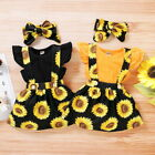 Newborn Baby Girl Floral Dress Clothes Ruffle Romper Tops Skirt Outfits 3Pcs Set