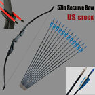 57inch Take Down Recurve Bow and 12PCS Arrows Set RH/LH 30/40lbs Hunting Train