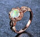 White Opal Ring 10k Rose Gold Filled Criss Cross Band US Size 5-11 Free Gift Box image