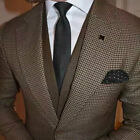 Brown Houndstooth Suits Men's Formal 3 Pieces Wedding Groom Tuxedos Slim Fit