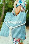 Large Canvas Shoulder Tote Beach Bag With Cotton Rope Handles, Outdoors, Pool. image