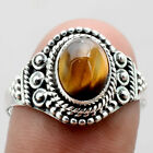 Tiger Eye - African 925 Sterling Silver Handmade Ring Jewelry s.9.5 SDR68986