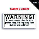 WARNING Suffocation Label Stickers for Plastic Bags / Lazer Quality Labels