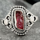 Pink Tourmaline Rough 925 Sterling Silver Handmade Ring Jewelry s.7 SDR85081