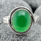 Natural Green Onyx 925 Sterling Silver Handmade Ring Jewelry s.8.5 SDR87521