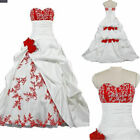 Classic White And Red Flower Wedding Dress Ball Gown Sweetheart Pick-ups Skirt