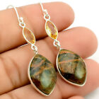 Turkish Rainforest Chrysocolla and Citrine 925 Silver Earrings Jewelry SDE23935