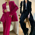 Women Velvet Trousers Suit Professional High-end Loose Casual Blazer Pant Suits