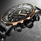 Adults Mens Watches Outdoor Sports Stainless Steel Watch Waterproof Wristwatches image