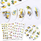 Harunouta Nail Water Decals Gold Colorful Flower Transfer Stickers Decoration