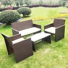 4pc Rattan Set Outdoor Garden Patio Furniture - 1x Love Seat, 2x Chairs & Table