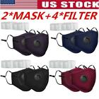 2X Washable Cloth Face Mask Mouth Cover Masks With PM2.5 Filters Reusable US