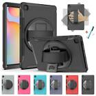 Rotate Armor Hard Case Cover Hand Strap For Samsung Galaxy Tab S6 Lite 10.4 P610
