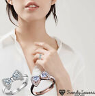 For Women Bow Tie Ring Cubic Zirconia 925 Sterling Silver Plated Resizable Ring