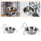 Stainless Steel Hang-on Pet Bowls Metal Dog Crate Cage Food Water Bowl