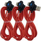 3 Pack 3/6Ft Braided USB Type C Cable Samsung Charger Cord Fast Charge 90 Degree