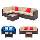 Patio Rattan Wicker Furniture Set Garden Sectional Couch Outdoor Love Sofa Table