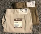 Mens Haggar Premium No Iron Khaki Flat Front Pant 42x30 Choose Color Classic Fit